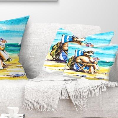 Turtle Enjoying Holidays on Beach Seashore Pillow Size: 12 x 20, Product Type: Lumbar Pillow