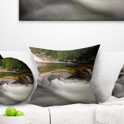 Segade Waterfall Galicia Spain Landscape Photo Pillow Size: 18 x 18, Product Type: Throw Pillow