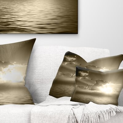 Sepia Toned Cloudy Sunrise Landscape Printed Pillow Size: 12 x 20, Product Type: Lumbar Pillow