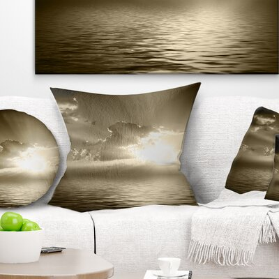 Sepia Toned Cloudy Sunrise Landscape Printed Pillow Size: 16 x 16, Product Type: Throw Pillow