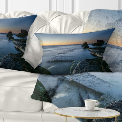 Sunrise at Sydney Seashore Seascape Pillow Size: 12 x 20, Product Type: Lumbar Pillow
