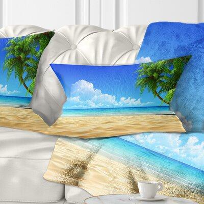 Coconut Palms Bent into Beach Seashore Pillow Size: 12 x 20, Product Type: Lumbar Pillow