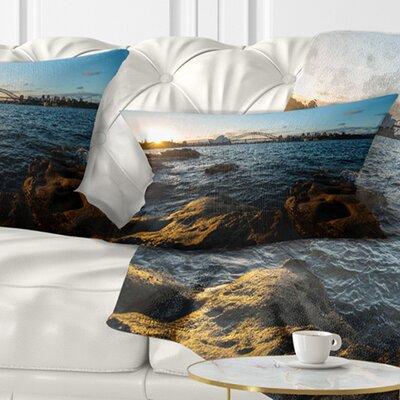 Sunset at Opera House Sydney Seashore Pillow Size: 12 x 20, Product Type: Lumbar Pillow