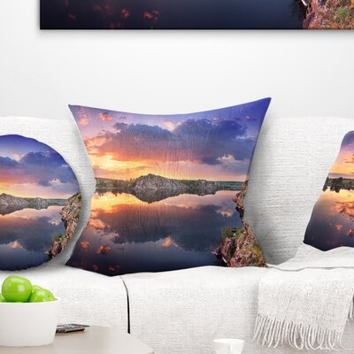 Sunset at River with Large Clouds Landscape Photography Pillow Size: 16 x 16, Product Type: Throw Pillow
