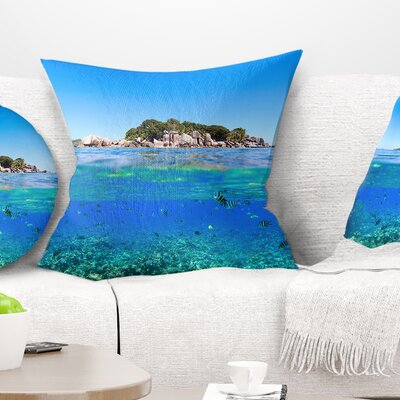 Under and Above the Water Seascape Pillow Size: 16 x 16, Product Type: Throw Pillow