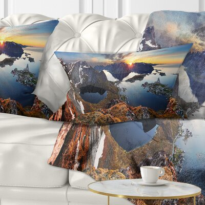 Sunset at Rocky Mountains Norway Landscape Photography Pillow Size: 12 x 20, Product Type: Lumbar Pillow