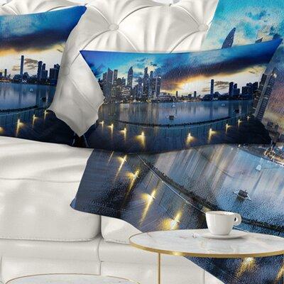 View from Marina Bay Sands Panorama Cityscape Pillow Size: 12 x 20, Product Type: Lumbar Pillow