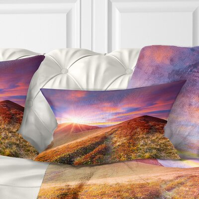Grass and Clouds Landscape Photography Pillow Size: 12 x 20, Product Type: Lumbar Pillow