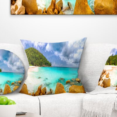 Seychelles Beach Panorama Seascape Photography Pillow Size: 16 x 16, Product Type: Throw Pillow