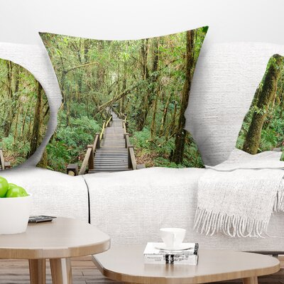 Walk Way in Deep Forest Landscape Photo Pillow Size: 18 x 18, Product Type: Throw Pillow