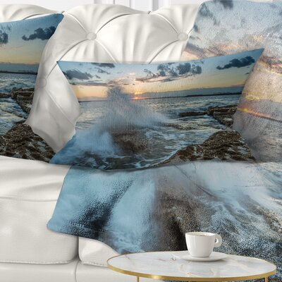 Sunset at Sydney Seashore Seascape Pillow Size: 12 x 20, Product Type: Lumbar Pillow