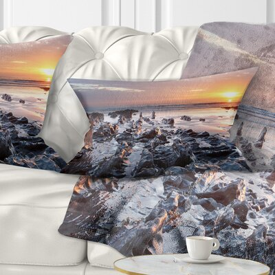 Sunset at Woolacombe Bay Devon UK Seashore Pillow Size: 12 x 20, Product Type: Lumbar Pillow