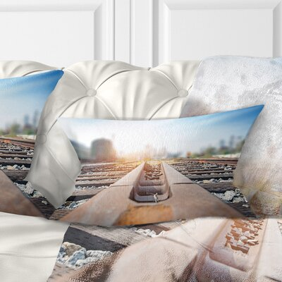 Cargo Train Platform with Container Landscape Photography Pillow Size: 12 x 20, Product Type: Lumbar Pillow