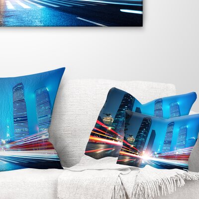 Shanghai Lujiazui Finance at Night Cityscape Pillow Size: 12 x 20, Product Type: Lumbar Pillow