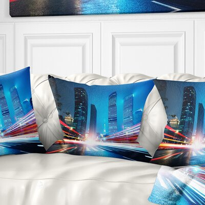 Shanghai Lujiazui Finance at Night Cityscape Pillow Size: 18 x 18, Product Type: Throw Pillow