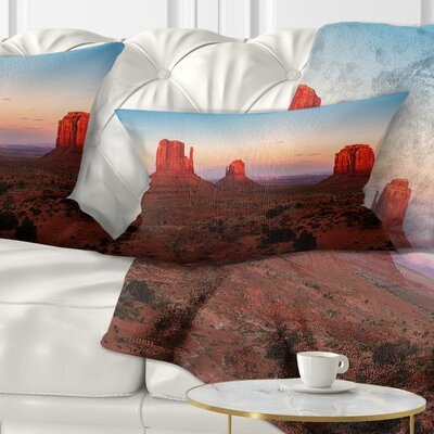 Sunset in Monument Valley Landscape Printed Pillow Size: 12 x 20, Product Type: Lumbar Pillow