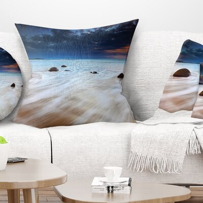 Waves Flowing over Boulders Seashore Photo Pillow Size: 16 x 16, Product Type: Throw Pillow