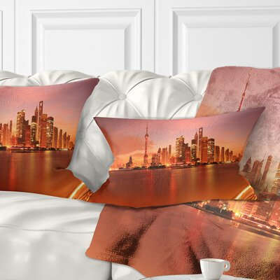 Shanghai Lujiazui Skyline Cityscape Photography Pillow Size: 12 x 20, Product Type: Lumbar Pillow