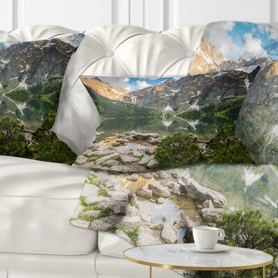 Sunset over High Mountains Landscape Printed Pillow Size: 12 x 20, Product Type: Lumbar Pillow