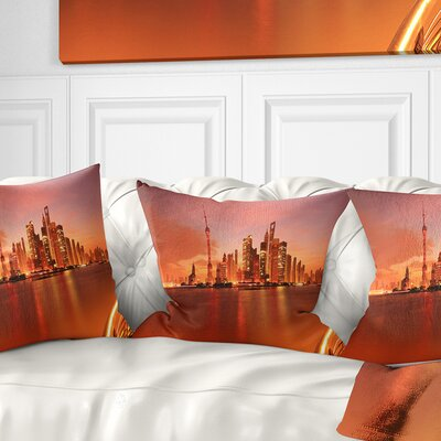 Shanghai Lujiazui Skyline Cityscape Photography Pillow Size: 18 x 18, Product Type: Throw Pillow