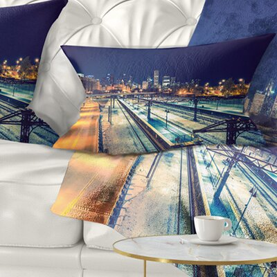 Welcome in Chicago Highway Traffic Cityscape Pillow Size: 12