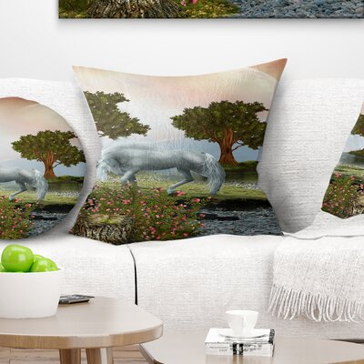 Horse and Trees Landscape Printed Pillow Size: 18 x 18, Product Type: Throw Pillow