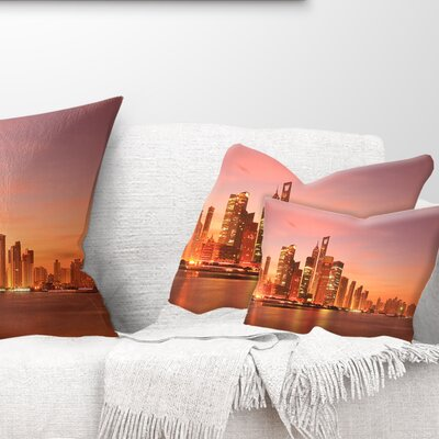 Shanghai Skyline at Dawn Cityscape Photo Pillow Size: 12 x 20, Product Type: Lumbar Pillow