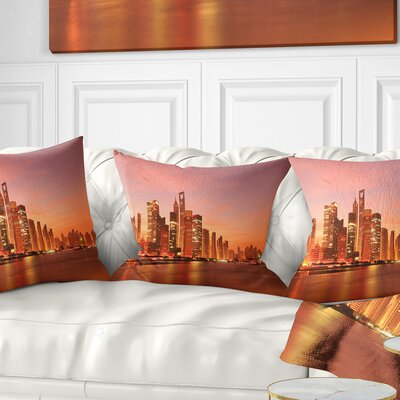 Shanghai Skyline at Dawn Cityscape Photo Pillow Size: 18 x 18, Product Type: Throw Pillow