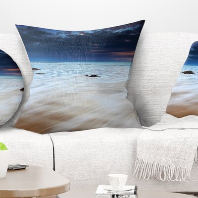 Waves over Moeraki Boulders Seashore Photo Pillow Size: 18 x 18, Product Type: Throw Pillow