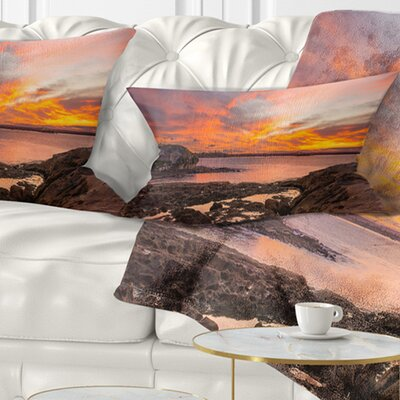 Sunset Sky Panoramic Sydney View Seashore Pillow Size: 12 x 20, Product Type: Lumbar Pillow