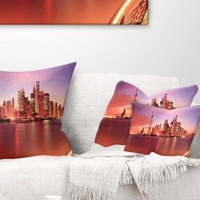 Shanghai Skyline at Dawn Panorama Cityscape Pillow Size: 12 x 20, Product Type: Lumbar Pillow
