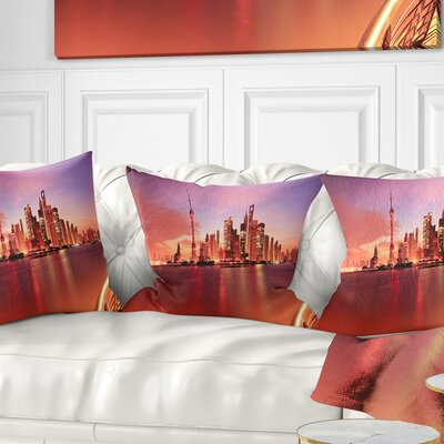 Shanghai Skyline at Dawn Panorama Cityscape Pillow Size: 26 x 26, Product Type: Euro Pillow