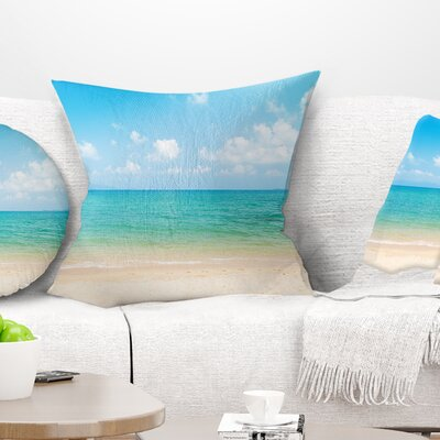 Wide View of Tropical Beach Seashore Photo Pillow Size: 18 x 18, Product Type: Throw Pillow