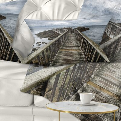 Wooden Pier on North Irish Coastline Sea Bridge Pillow Size: 12