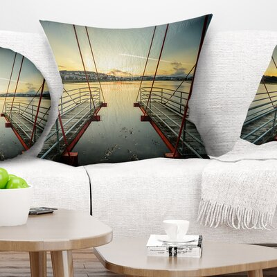 Wooden Piers for Boats in Spain Seashore Photo Pillow Size: 16
