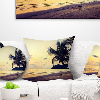 Silhouette Coconut Tree Seascape Pillow Size: 16 x 16, Product Type: Throw Pillow
