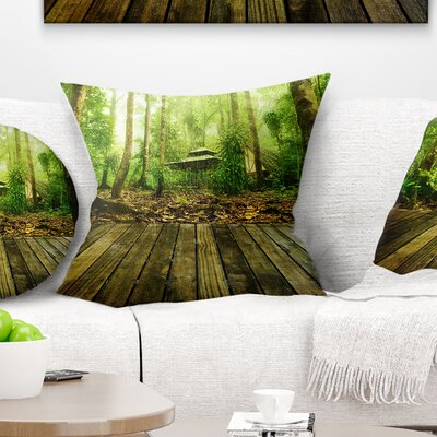Wooden Platform in Forest Landscape Photography Pillow Size: 18