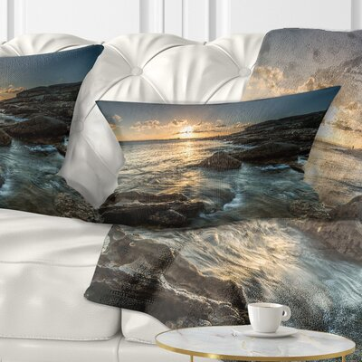 Sydney Beach with Bright Sunset Seascape Pillow Size: 12 x 20, Product Type: Lumbar Pillow