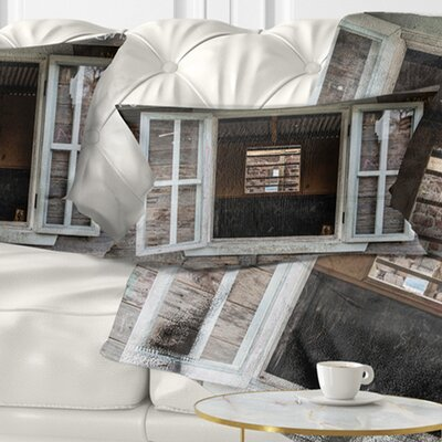 Wooden Walls and Windows Landscape Printed Pillow Size: 12 x 20, Product Type: Lumbar Pillow