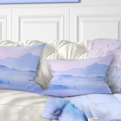 Silhouettes of Morning Mountains Landscape Photography Pillow Size: 12 x 20, Product Type: Lumbar Pillow