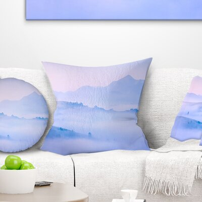 Silhouettes of Morning Mountains Landscape Photography Pillow Size: 18 x 18, Product Type: Throw Pillow