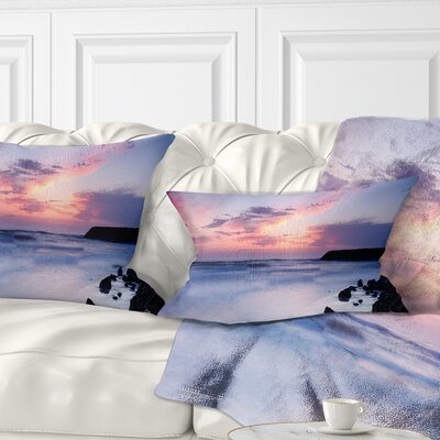 Silky Waters Around Rocks Seashore Photo Pillow Size: 12 x 20, Product Type: Lumbar Pillow