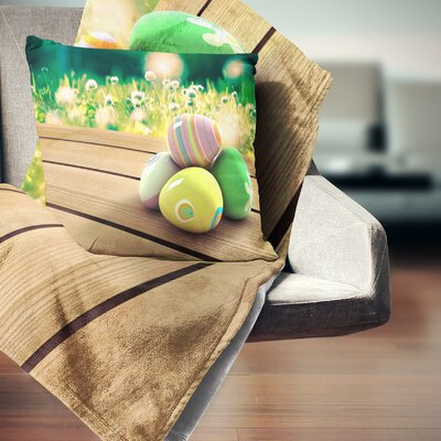 Easter Eggs Landscape Photo Pillow Size: 16 x 16, Product Type: Throw Pillow