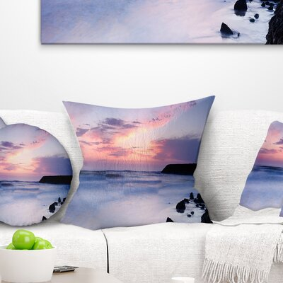 Silky Waters Around Rocks Seashore Photo Pillow Size: 16 x 16, Product Type: Throw Pillow