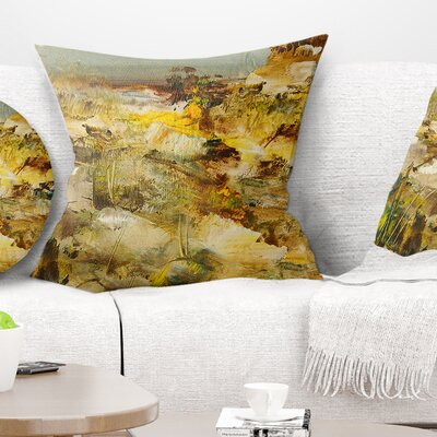 Stones Heavily Textured Landscape Painting Pillow Size: 16 x 16, Product Type: Throw Pillow
