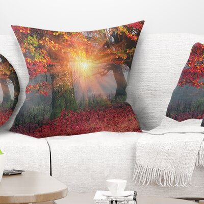 Sun in Autumn Forest Landscape Photography Pillow Size: 18 x 18, Product Type: Throw Pillow