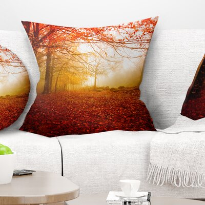 Sun Rays in Misty Forest Landscape Photography Pillow Size: 26 x 26, Product Type: Euro Pillow