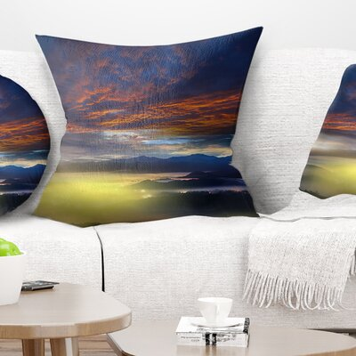 Sunlight and Fiery Clouds Landscape Photography Pillow Size: 16 x 16, Product Type: Throw Pillow