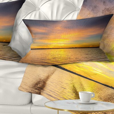 Sunrise Light Hitting Water Seashore Pillow Size: 12 x 20, Product Type: Lumbar Pillow