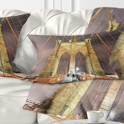 Brooklyn Bridge Tower and Cabling Cityscape Pillow Size: 12 x 20, Product Type: Lumbar Pillow